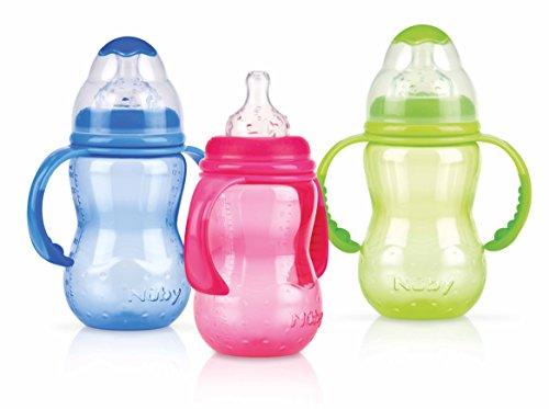 Nûby 1095 - Weithalsflasche aus Polypropylen 300ml mit Griff und auslaufsicherem Sauger aus Silikon für variablen Trinkfluss, ab 4 Monate, Farbe nicht frei wählbar