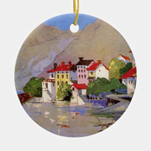 Personalised 2020 Vintage Seaside Village Italy Tourism Ornament for Christmas Decor, Customized Any Name and Date 3' Ceramic Ornament