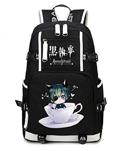 GO2COSY Luminous Rucksack Daypack Student Bag Schultasche Büchertasche für Anime Black Butler Cosplay, schwarz (Schwarz) - cos1