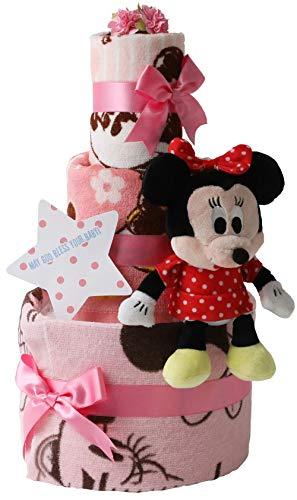 オムツケーキ 出産祝い ディズニー disney 身長計付きバスタオル 名入れ刺繍 3段 おむつケーキ ぬいぐるみ (goonパンツタイプMサイズ, 女の子向け(ピンク系))