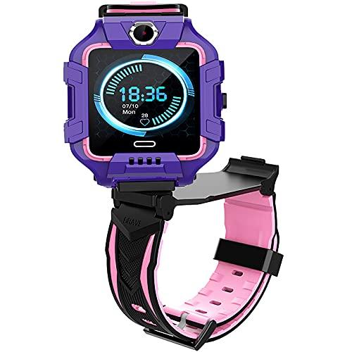shjjyp Smartwatch Reloj Inteligente NiñO GPS Lbs Rastreador PodóMetro Impermeable CáMara Sos Pantalla TáCtil HD ConversacióN Bidireccional Reloj Inteligente para NiñOs Regalo para NiñOs,Púrpura