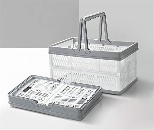 OHYONIZ Cajas de plástico Plegables, Cestas de plástico para la Compra con Asas, Cesta de Almacenamiento Plegable, Cesta de plástico para Compras con asa Organizador de contenedores (Blanco)