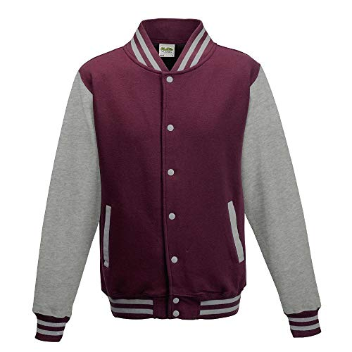 Just Hoods - Unisex College Jacke 'Varsity Jacket' BITTE DIE JH043 BESTELLEN! Gr. - S - Burgundy/Heather Grey
