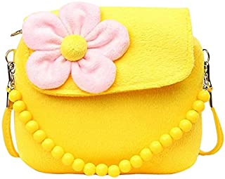 Binze Three-dimensional Flower children's bag Cute Princess Floral Handbags(Yellow)