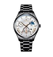 メンズ腕時計 シルバーブルーステンレススチール防水 多機能 ステンレス 防水 多針アナログクオーツウオッチ ルミナス夜光 クォーツ時計 カジュアル メタル男性腕時計