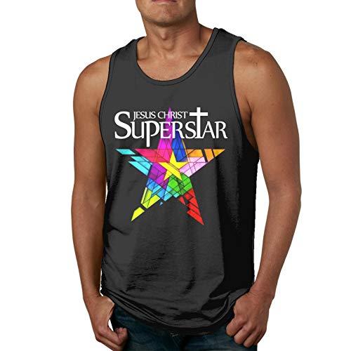 Je-Sus Christ Super-Star(2) Men's Tank Top Sleeveless tee Sports T-Shirt Tees Outdoor(XL,Black)