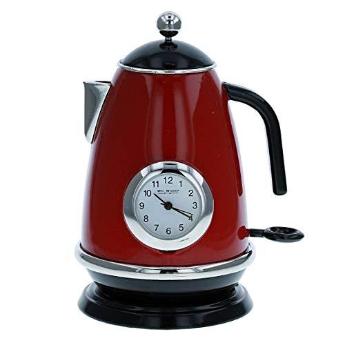 Reloj de cocina redondo en miniatura, diseño de tetera roja 9709