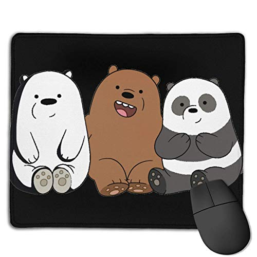 HTESWA We Bare Bears Mouse Pad with Stitched Edge, Premium-Textured Mouse Mat, Non-Slip Rubber Base Mousepad for Laptop, Computer and Pc 7 X 8 Inch