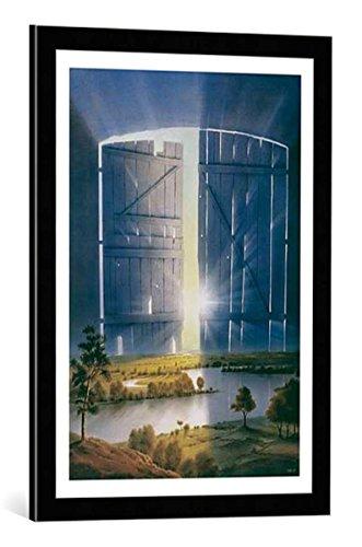 kunst für alle Bild mit Bilder-Rahmen: Hans-Werner SAHM Erinnerung - Memories - dekorativer Kunstdruck, hochwertig gerahmt, 50x70 cm, Schwarz/Kante grau