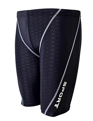 Srnfean Men`s Swimming Jammers Endurance+ Quick Dry Swimsuit Black Medium