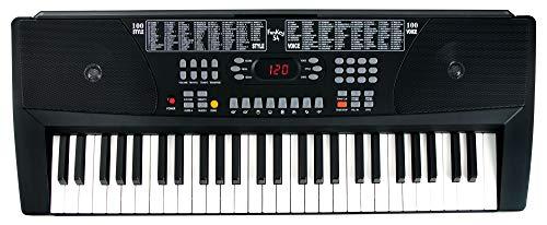 Funkey 54 Keyboard - 54 Tasten ideal für Einsteiger und Kinder - 100 Sounds/Klänge und Begleitautomatik mit 100 Rhythmen - Inklusive Netzteil und Notenhalter - Schwarz