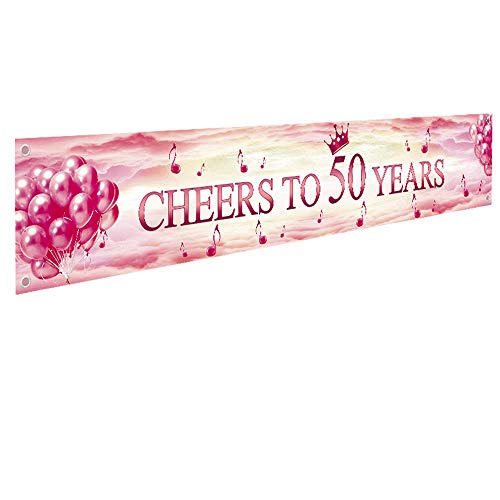 Ushinemi 50th Happy Birthday Banner, 50 Anniversary Decorations, Cheers to 50 Years Party Decor Backdrop Banner Sign, Large, Rose and Gold, 9.8x1.6 Feet