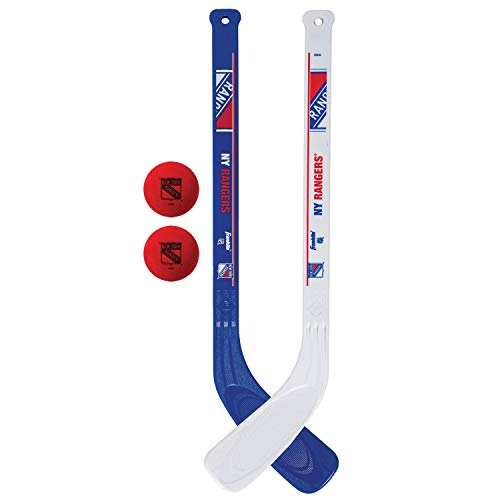 Franklin Sports NHL New York Rangers Mini Hockey Stick Set - NHL Team Knee Hockey Stick and Ball Set - Two Player Stick Set - Great Toy for Kids