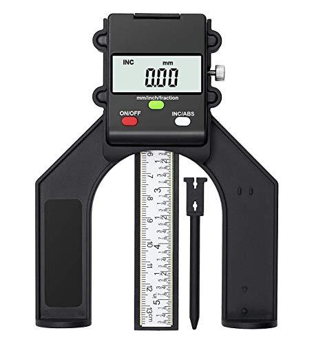 TRZ Tiefenmesser Digitaler Profiltiefenmesser, Selbst Stehende Tiefenlehre mit Magnetischen Füßen, Tiefenmessgerät und Höhenmessgerät 0-80mm, Perfekt für Holzbearbeitung und Maschinenbau