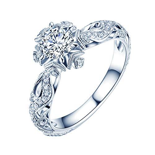 KnSam 18K Oro Blanco Anillo, Anillos de Aplicación Copo de Nieve, Diamante D-E,