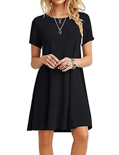 MOLERANI Women's Casual Plain Short Sleeve Simple T-Shirt Loose Dress, Black, Large