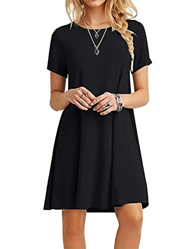 MOLERANI Women's Casual Plain Short Sleeve Simple T-Shirt Loose Dress Black S