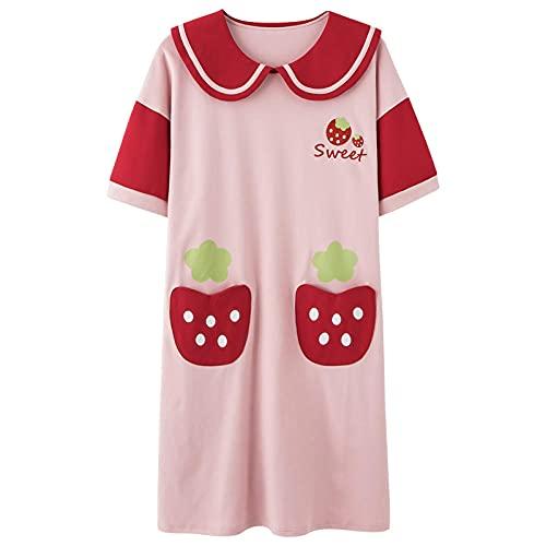 KKLLHSH Camisón de Verano de algodón de Dibujos Animados para Mujer camisón de Manga Corta con Cuello Redondo Casual de Gran tamaño Ropa de Dormir-F_L