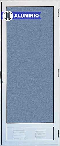 Puerta Balconera Aluminio Practicable Derecha 800 ancho x 2000 alto con Rejilla de ventilación y cristal mate Carglas 1 hoja