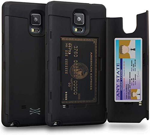 TORU CX PRO Note 4 Wallet Case Black with Hidden Credit Card Holder ID Slot Hard Cover & Mirror for Samsung Galaxy Note 4 - Matte Black