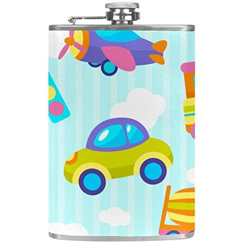 Petaca de cuero de bolsillo con embudo de mano para camping, pesca, barbacoa, fiesta, bar, bebederos, botella de vino, juguete de transporte
