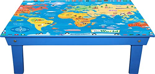 Embell Products Foldable Table Made in India, Map Design, Laptop Table, Bed Table, Study Table (Blue Map)