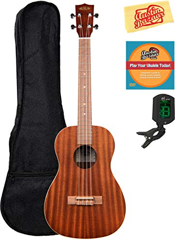 Kala KA-B Mahogany Baritone Ukulele Bundle with Gig Bag, Clip-On Tuner, Austin Bazaar Instructional DVD, and Polishing Cloth