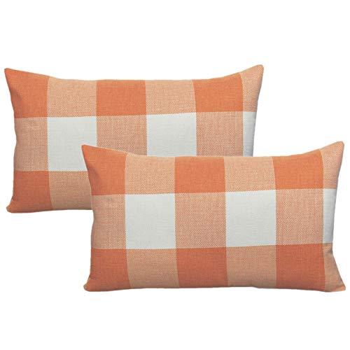 VAKADO 12x20 Inch Pack of 2 Farmhouse Retro Check Plaids Lumbar Throw Pillow Covers Decorative Cotton Linen Rectangle Cushion Cases Decor for Fall Thanksgiving Sofa Couch Car, Orange White