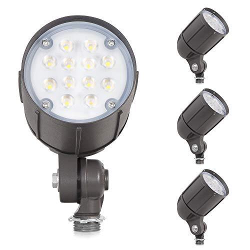 12-Watt LED Bullet Flood Light for 120 Volt Outdoor Landscape Lighting, 1480 lm, Bronze, 70W MH Equal, Flagpole Light, 22° Spot Beam, Monument Sign Lighting, Cool White (5000K, 4-Pack)