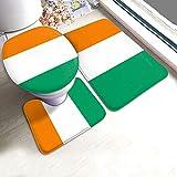 Juego de 3 banderas de Costa de Marfil Cote Divoire (alfombrilla de baño + contorno + tapa de inodoro) Alfombrillas de ducha