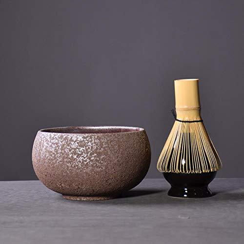 RIDS Conjuntos de Matcha Tradicionales Batidor de Matcha de bambu Natural Soporte de batidor de Cuenco de Matcha Ceremonial Juegos de te japoneses Drinkware, Estilo F