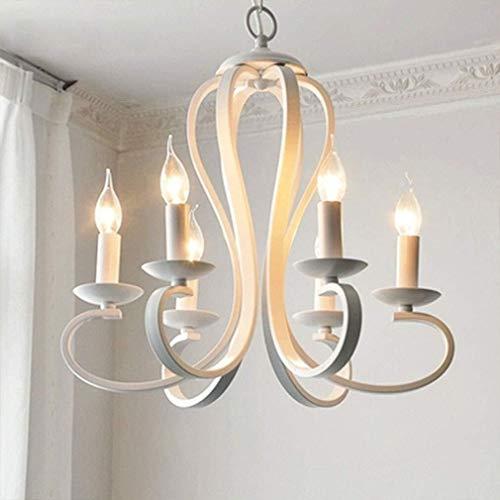 ChenTeShangMao Kronleuchter, LED 6 Flamme Eisen-Leuchter Weiß Schwarz Vintages Wohnzimmer Schlafzimmer Esszimmer, Weiß, nordisch