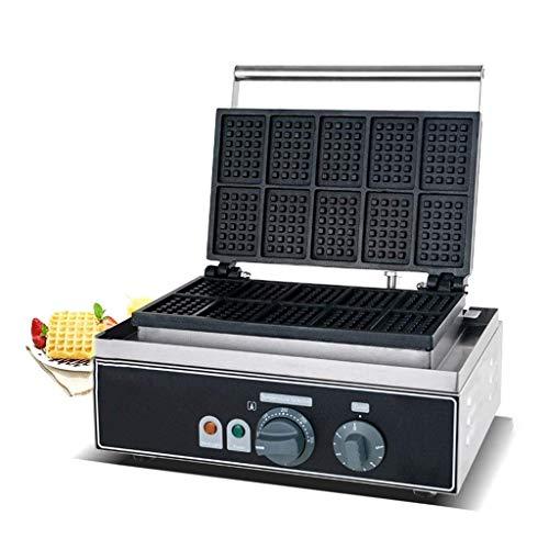 SHBV Máquina para Hacer gofres giratoria eléctrica Comercial de Acero Inoxidable, tostadora para sándwiches Antiadherente, Control de Temperatura y Tiempo, máquina para Hacer Muffins, máquina par