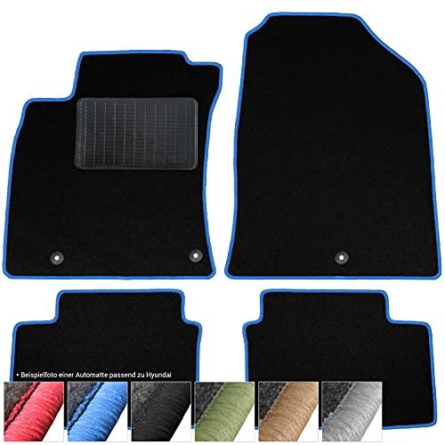 moto-MOLTICO Fußmatten Auto Velours Autoteppiche Schwarz Automatten Set 4-teilig passend für Hyundai i20 ab 2015 (Blaue - Ziernähte)