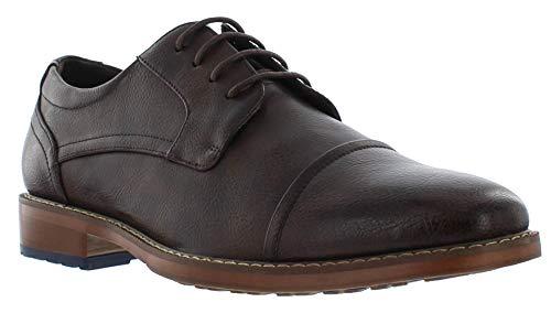 Giorgio Brutini Aiden Brown & Black Oxford Dress Shoes for Men, Cap Toe Engineered Leather Shoe, Cognac, 13 M US