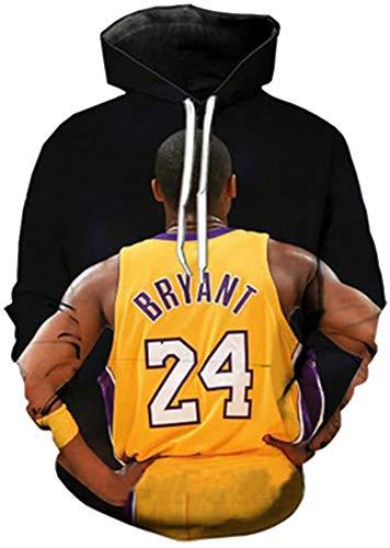 Elegante y cómodo Los aficionados unisex L.A Lakers Kobe Bryant pulóver sudadera con capucha 3D Baloncesto Deportes camiseta de la camiseta de manga larga con capucha de la chaqueta de D-S ,estilo clá