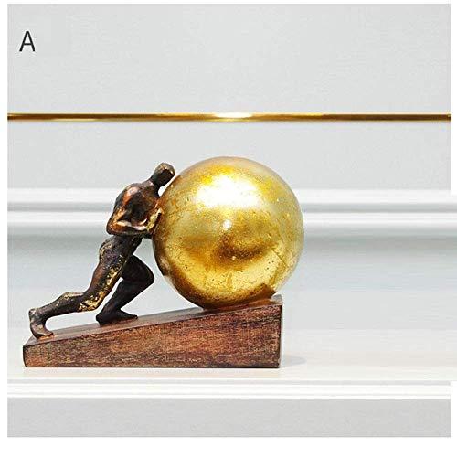 Living Equipment Figurilla Figurines Estatua Estatuas Estatuillas Esculturas Gimnasia Empuje la Pelota Deportes Figura Estatua Escultura de Arte Estatuilla de Hércules Resina Arte Amp; Artesanía De