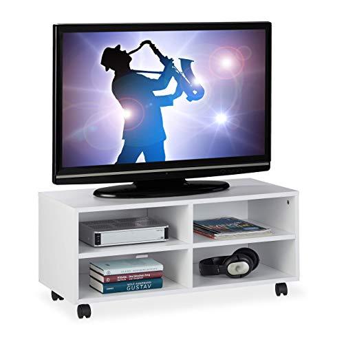 Relaxdays TV Board mit 4 Fächern, mit Rollen, für CDs, DVDs & Konsole, Phonotisch für Wohnzimmer, HBT 35x80x35 cm, weiß