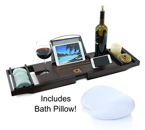 Adorn Home Essentials Adorn Bamboo Bathtub Caddy Tub Tray | Waterproof/Washable Bath Pillow with Suction Cup | Mahogany Brown | Expands up to 43""