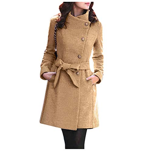 HGWXX7 Womens Pea Coat Plus Size Buttons Down Vintage Jacket Slim Fit Long Sleeve Peacoats with Pocket Belt Khaki
