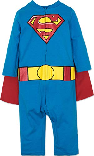 Warner Bros. Superman Infant Baby Boys' Costume Coveralls with Cape Set (Blue, 24 Months)