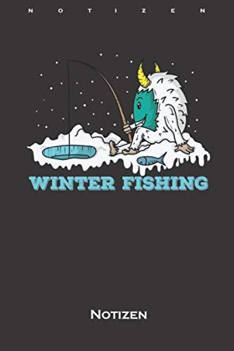 Yeti Eisbär Eisangeln im Winter am Wasser Notizbuch: Kariertes Notizbuch für Freunde der kühlen und eisigen Jahreszeit