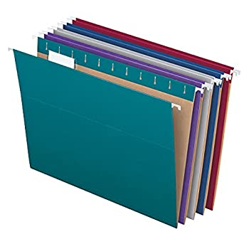 Pendaflex Recycled Hanging File Folders Letter Size Assorted Jewel-Tone Colors Two-Tone for Foolproof Filing 1/5-Cut Tabs 25 Per Box  81667