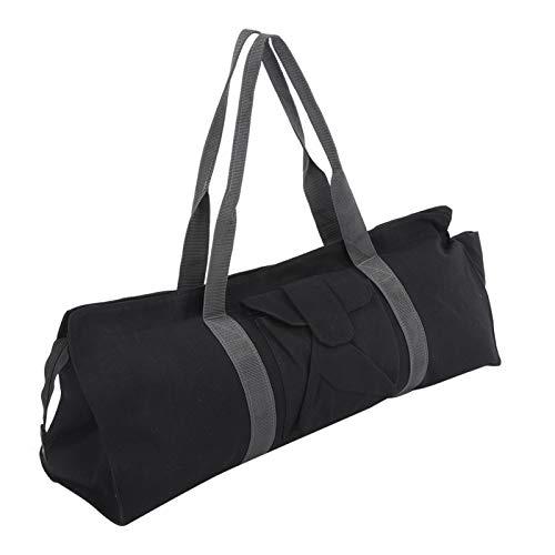 Bolsa de Yoga, Multifuncional Can-Vas Yoga Gym Mat Carrier Bolsa de Almacenamiento Bolsa de Hombro Individual para Deportes Negro