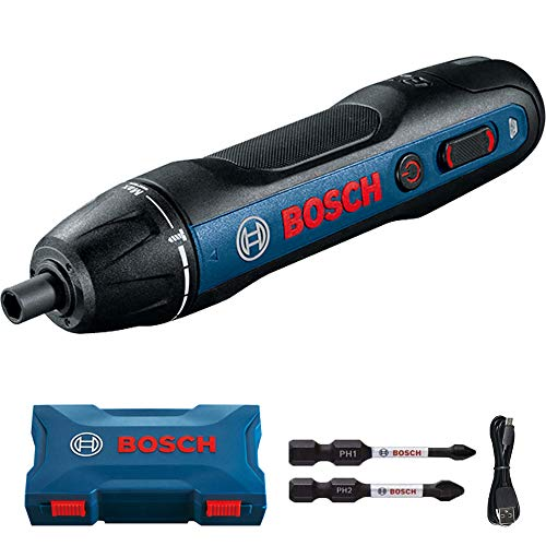 Bosch Power Screwdriver 2nd Generation Press/Push to Go Wireless Cordless Electric Handheld Screwdriver - Navy Plastic Case