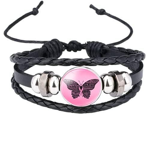 Pulsera de concienciación del cáncer de mama para las mujeres, cinta rosa, hecha a mano, pulsera de cuero trenzado, joyería de la esperanza de mariposa