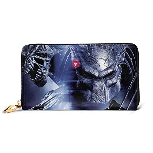 XCNGG Aliens vs Predator Geldbörsen für Frauen Männer Exquisite Advanced Leder Reißverschluss wasserdichte multifunktionale Brieftasche Clutch Bag