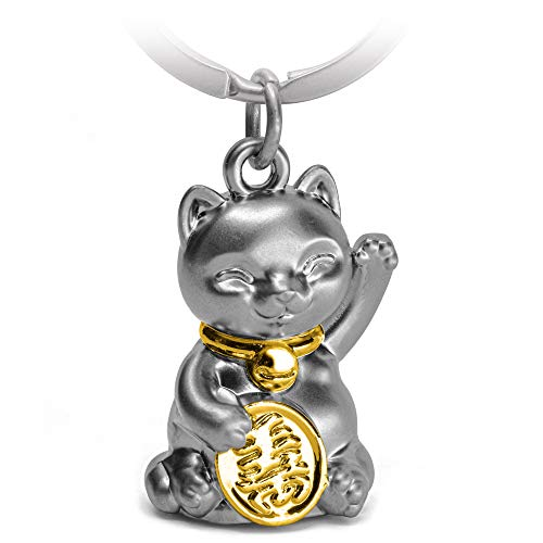 FABACH Glückskatze Winkekatze Schlüsselanhänger Maneki Neko - Süßer Katze Glücksbringer - Katze Anhänger Metall - Schlüsselanhänger Katze Geschenk