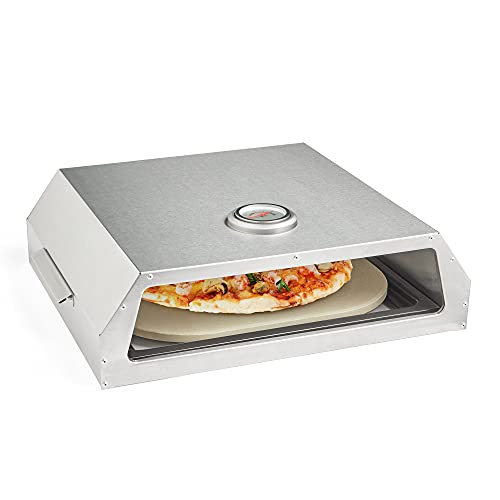 VonHaus Grill-Top BBQ Pizza Oven   Stainless Steel Finish Outdoor Oven With Carry Handles And Thermometer   Minimum cooking area required 60 x 40 x 13 cm   Includes Ceramic Plate