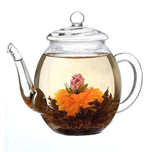 Creano Teiera Vetro con Coperchio per tè da Fiori di tè, Rose da tè e tè Sciolto e bustine di tè | 500ml, di Alta qualità, Resistente al Calore